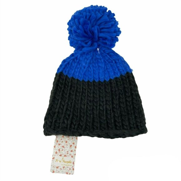 Free People Cozy Up Color Block Beanie Black Blue NWT